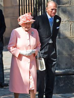 Zara Phillips's grandparents, Queen Elizabeth II and the Duke of Edinburgh making their way into the church for the wedding ceremony.