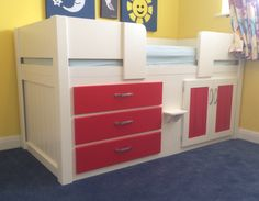 White and ferrari red 3 drawer cabin bed designed for a young boys room. White and ferrari red 3 drawer cabin bed designed for a young boys room. Aspenn hand make bespoke f Childrens Cabin Beds, Bespoke Furniture, Young Boys, Bed Design, Boy Room, Luxury Bedding, Filing Cabinet, Bunk Beds, Natural Wood