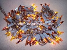 Brown Wire Christmas Lights Primitive Colored Bulbs 150 count Strand