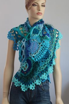 Blue Turquoise Freeform Crochet Scarf Shawl / by levintovich
