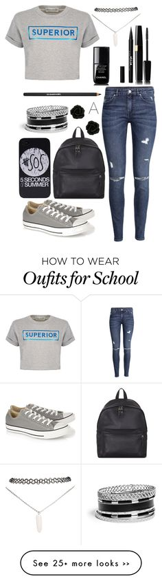 """""""BACK to school"""" by happyloves on Polyvore featuring Wet Seal, Être Cécile, H&M, Converse, Eastpak, GUESS, Chanel, Stila and Lancôme"""
