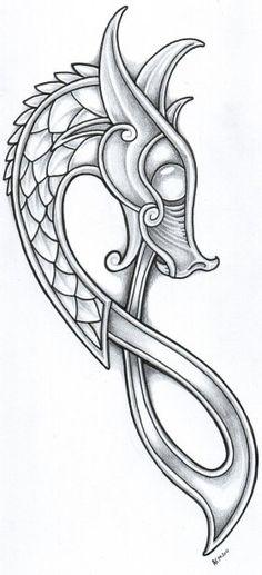 Dragon sketch Dragon Viking, Art Viking, Viking Dragon Tattoo, Tattoo Celtic, Celtic Dragon Tattoos, Viking Ship Tattoo, Ouroboros Tattoo, Viking Shield, Viking Tattoo Design