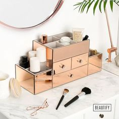 Beautify Rose Gold Mirrored Glass Jewellery Box & Makeup Organiser with 3 Drawers, 9 Storage Sections & Velvet Lining includes FREE Glass Cleaning Cloth: Kitchen & Home