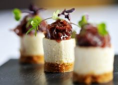 These brilliant goats cheesecake recipe from award winning British chef, Simon Hulstone, are tasty and look amazing - truly, the ultimate canapé recipe