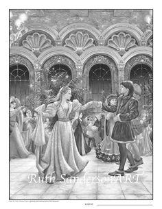 Dancing PrincessesSet of 4 Grayscale PDF by RuthSandersonArt