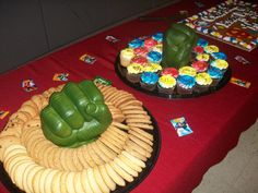 """We  used """"hulk hands"""" in the middle of platters to make a superhero impression on the snack table."""