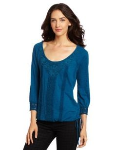 Long sleeve knit top with tonal embroidered details