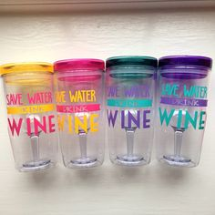 "OUTDOOR WINE TUMBLER - ""Save Water, Drink Wine"" - Available in 4 lid colors by GracieMaeGifts on Etsy"