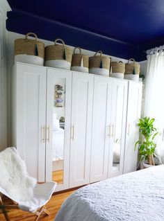 While I love the functionality of the Ikea Brimnes Wardrobes (and also bed) I ca. - Ikea DIY - The best IKEA hacks all in one place Ikea Brimnes Wardrobe, Ikea Wardrobe Hack, Diy Wardrobe, Ikea Wardrobe Design, Wardrobe Wall, Bedroom Wardrobe, Wardrobe Ideas, Home Bedroom, Bedroom Decor