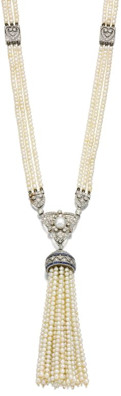 diamondsinthelibrary:  Art Deco seed pearl, sapphire and diamond sautoir, Circa 1910. Designed as three rows of seed pearls highlighted at intervals with pierced square plaques, suspending an openwork pendant of tassel design set with calibré-cut sapphires, highlighted with circular- and single-cut diamonds, length approximately 770mm. Via Sotheby's.