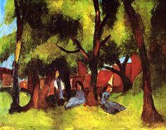 Children under Trees in Sun  August Macke - 1913
