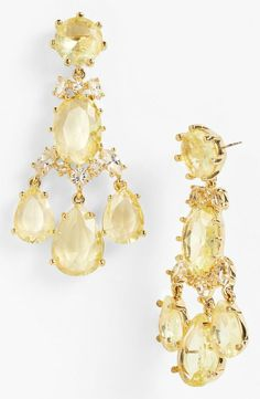 Yellow and gold for prom! Love these gorgeous Kate Spade chandelier earrings.