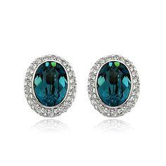 oval turquoise stud earring