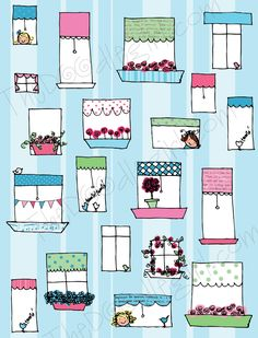 Doodled Art: I love these doodle windows by Doodle girl.