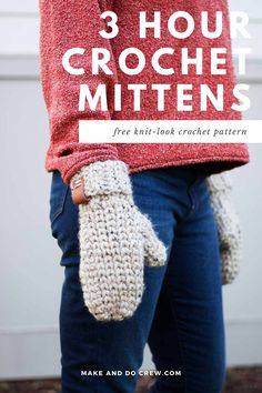 These chunky crochet mittens from Make and Do Crew can be crocheted in only three hours! While they look like knit classics, they're actually crocheted with simple stitches. This easy, detailed pattern and tutorial is perfect for gift giving and craft fairs. Women's size with option of worsted weight version as well. #makeanddocrew Crochet Mittens Free Pattern, Crochet Poncho Patterns, Crocheting Patterns, Amigurumi Patterns, Chunky Crochet, Knit Or Crochet, Cute Crochet, Crochet Stitches, Booties Crochet