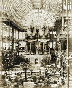 In the Crystal Palace. World's Fair of 1851, London.  Metallic architecture in the 19th century #MarcMaison #19thcentury #crystalpalace #London #WorldFair #architecture #metal
