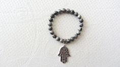 Bracelet perle jaspe main de Fatma Fatima argenté femme