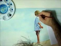 FREE Lesson. How to Paint in Watercolor of a Child or Kid by the Lake, t...