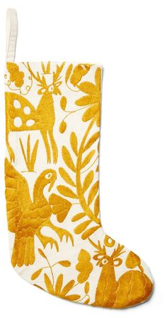Otomi Embroidered Stocking, Gold