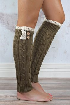 Mocha Knitted Leg Warmers with Lace