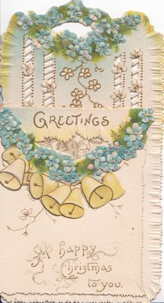 GREETINGS above forget me not chain & bells on folded front flap, more flowers & perforated design revealed back