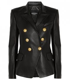 Balmain Double-Breasted Leather Blazer