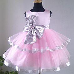 Best Pink Silver Tutu Toddler Little Girls Party Occasion Dresses  SKU-10501078