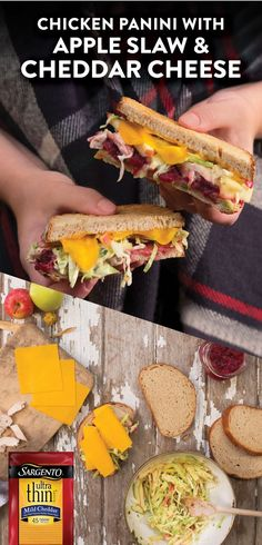 This panini has combined the flavors of fall with our Ultra Thin ® Mild Cheddar slices. Each slice is 45 calories which makes this panini a win-win recipe for your fall season.