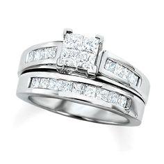 2 CT. T.W. Quad Princess Cut Diamond Bridal Set in 14K White Gold