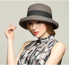 Elegant crimping bowler sun hat