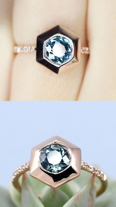 Montana Sapphire Recycled Rose Gold Hexagon Alternative Engagement Ring
