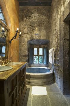 Rustic Tuscan style master bath...