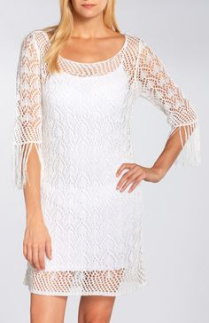 Green Dragon Crochet Dress W/ Fringe Sleeves || Bohemian-inspired crochet tunic dress. This airy silhouette features a rounded neckline, fringed sleeves, and lining.