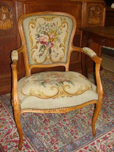 Idea for my French tapestry arm chair: I like the pattern of the French Needlepoint on this antique Arm Chair