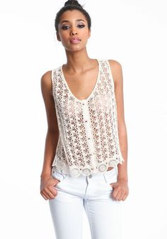 3a8054ba83 Crochet Buttoned Tank Top  crochet  lace  tank  sheer  floral  spring   newarrivals  loveculture