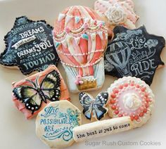 Chalkboard Art Inspiration themed cookies | Cookie Connection-- LOVE the balloon!