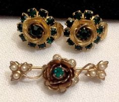Vintage Judy Lee Gold with Emerald Green Rhinestones Earrings and Brooch | eBay