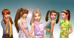 Mystufforigin: Girls Tied Hairs Pack 3 - Sims 4 Hairs - http://sims4hairs.com/mystufforigin-girls-tied-hairs-pack-3/