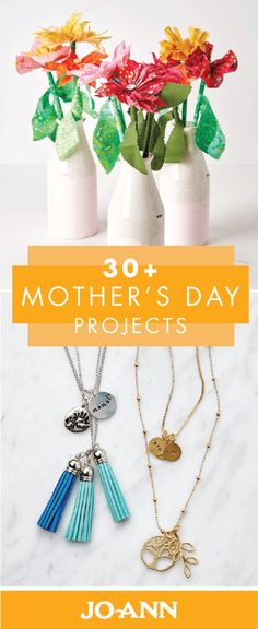 Check out this collection of 30+ Mother's Day Projects to get brainstorming on fun, thoughtful, and creative gifts to make the special women in your life. From crocheted flowers to handmade jewelry, we love thinking of new ways to show Moms how much they're appreciated! Creative Gifts, Great Gifts, Mother's Day Projects, Crocheted Flowers, Joanns Fabric And Crafts, Mother Day Gifts, Craft Stores, Beautiful Things, Handmade Jewelry