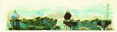 """AIMARO OREGLIO D'ISOLA (Isolarchitetti), """"Concorso per il Palazzo della Regione Lombardia, Milano"""" 2004, pastello, acquarello e computer grafica su cartoncino, cm 35x85"""