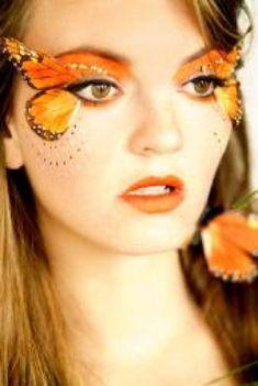 Orange butterfly wing eye makeup // Fairy costume