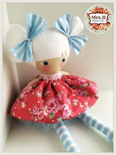 "Kari is a limited edition doll as she has blue eyes and eyelashes, her skirt and tutu are removable.She is 19"" tall, CE marked and suitable from birth.Made from quality cotton fabrics, 100% wool felt and soft tulle."