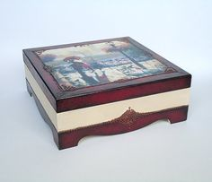 Hand painted hand decorated wooden box with by JoliefleurDeco