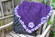 Crochet Baby or lap Blanket in Purple and Lavender