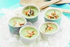 Chilled cucumber soup shots with spicy crab main image