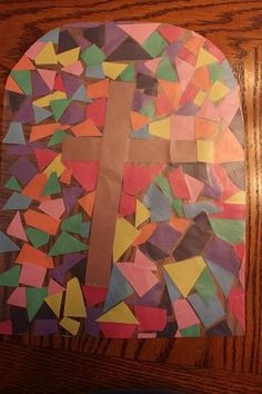 Cross window mosaic - and fun blog for easy crafts and teaching ABC's