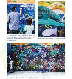 Marine Artist Wyland and 75 children paint the side of the Antropologie store in Glendale, Ca