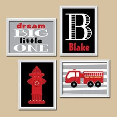 FIRE TRUCK Wall Art  CANVAS Or Prints Boy Child Name Hydrant Fire Truck  Theme Dream Big Little One Pattern Set Of 4 Baby Boy Bedroom Nursery