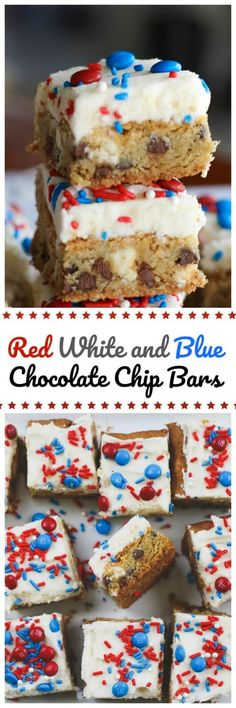 Red White and Blue Chocolate Chip Bars. Red, white and blue cookie bars. 4th Of July Desserts, Fourth Of July Food, Just Desserts, Delicious Desserts, Yummy Food, July 4th, Chocolate Chip Bars, Blue Chocolate, Chocolate Mouse
