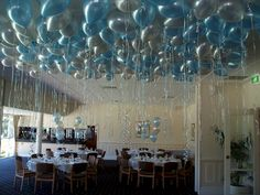 Ceiling Balloon Decoration Design Pin On Party Planning 25 Fun Things To Do With Balloons Balloons Balloon Balloon Decorations For High Ceilings I Love The Stars Tied Balloon Ceiling Balloon Ceiling Decorations, Simple Balloon Decoration, Wedding Balloon Decorations, Balloon Centerpieces, Wedding Balloons, Balloons On Ceiling, Hanging Decorations, Birthday Decorations, Floating Balloons